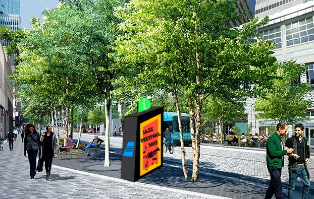 Large kiosk with vertical screen. Modeled after the IKE brand deployed in New York City.