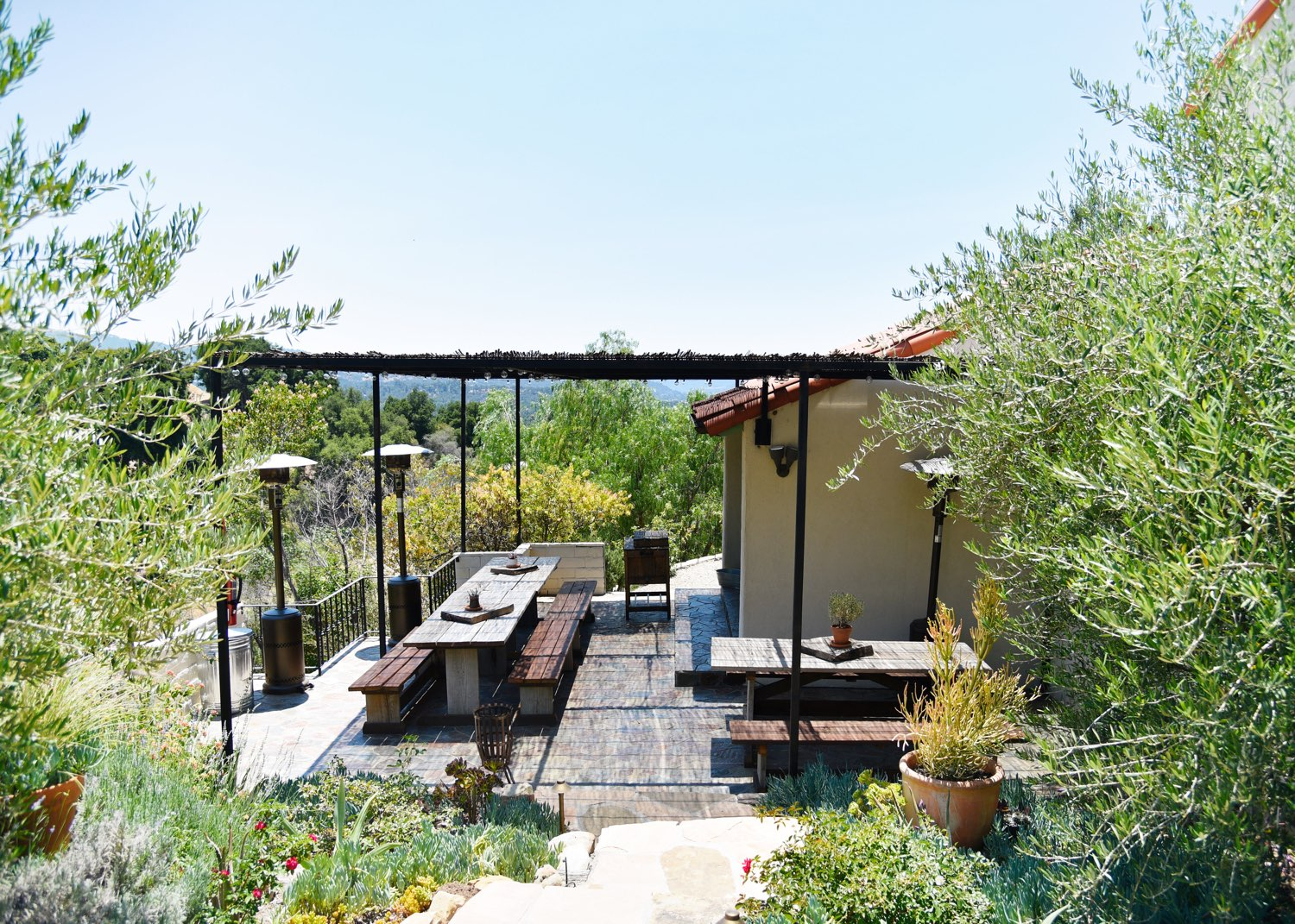 The shaded back dining terrace of The Casa.