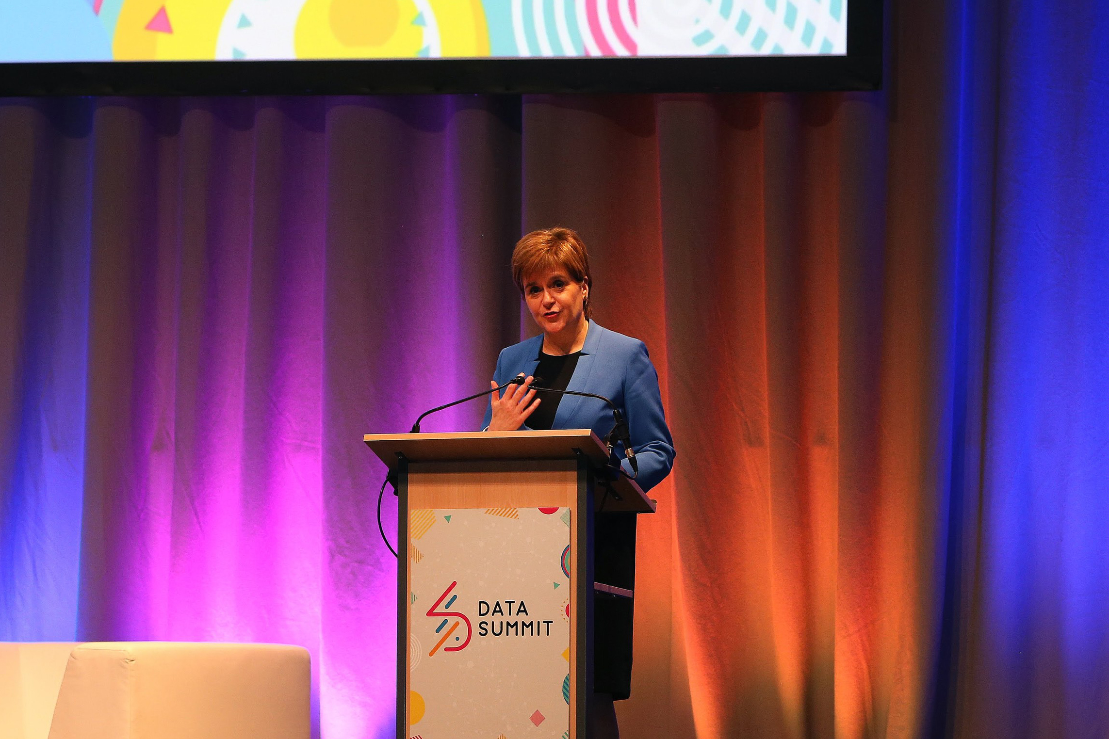 Data Summit day 1 at the Assembly Rooms Edinburgh; First Minister Nicola Sturgeon at the Data Summit.