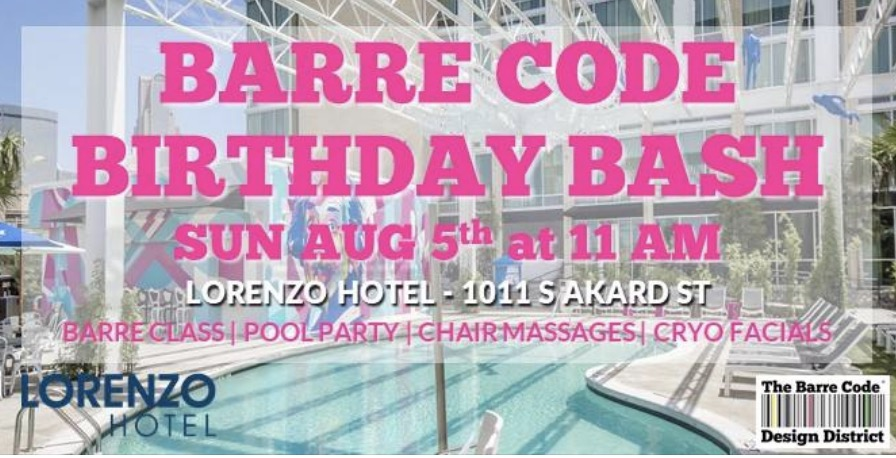 We're celebrating 5 amazing years of Living By The Barre Code in Big D so we're throwing a BIG BIG Birthday Bash!! Join us as we heat things up with a 30 minute Barre Code class taught poolside by  Robin Daniel  at  Lorenzo Hotel  (1011 S Akard St).  Then cool down with a dip in their super chic pool and a yummy post-class margarita. And relax with the best chair massage of your life by Rick Boyd, LMT and a Cryo facial courtesy of  Cryo1one . But the party doesn't stop there! The Lorenzo's VIP Relativity Pool Party kicks off at 1pm with a live DJ so be prepared to do this  #SundayFunday  right!  Autopay members are free and non-members $15 (includes one post-class marg). Wear shoes and bring/wear a swimsuit. No mats needed.