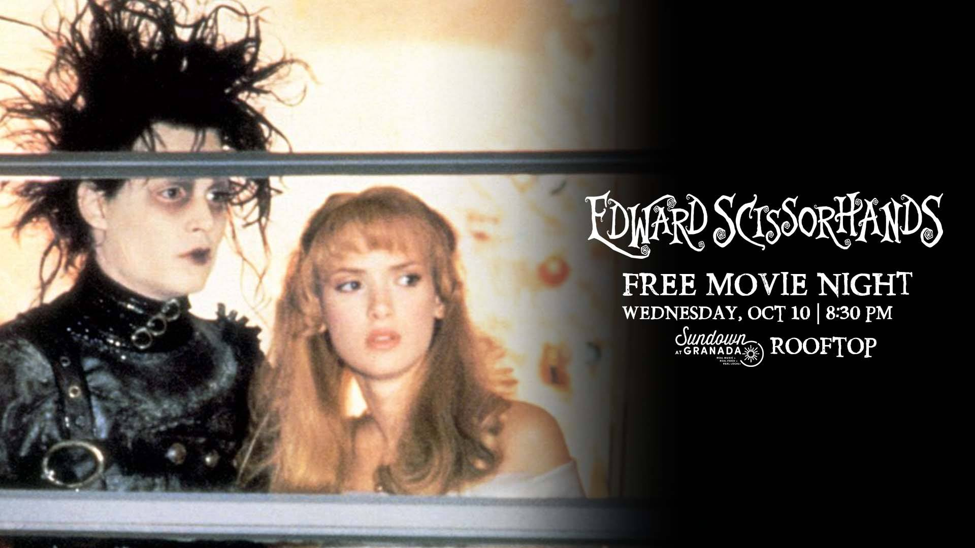 Our Rooftop Movie Night series continues with a FREE screening of the immortal classic Edward Scissorhands! Come join us for themed beverages on our rooftop patio!  21+