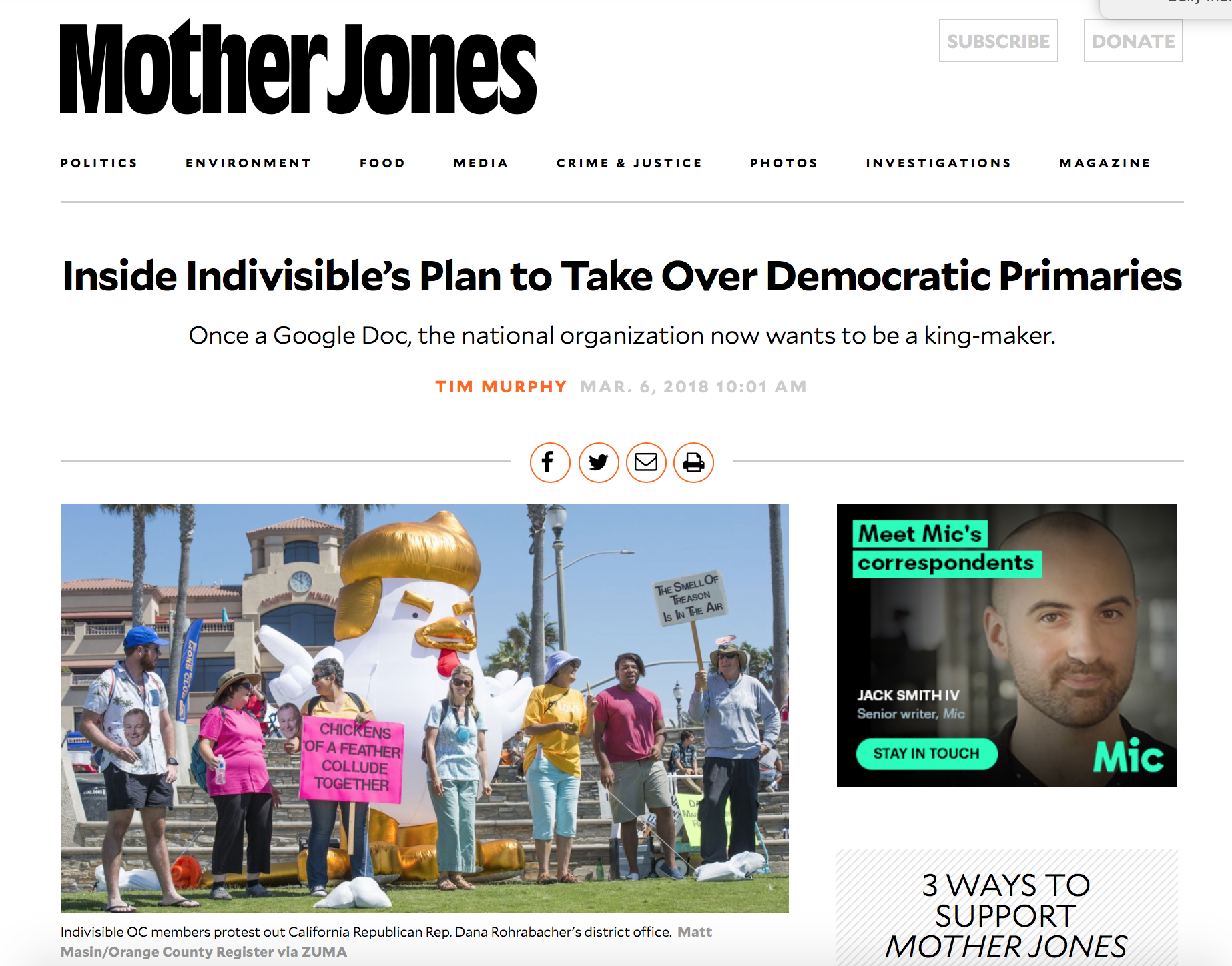 Mother Jones article on Indivisible's plan for endorsements.