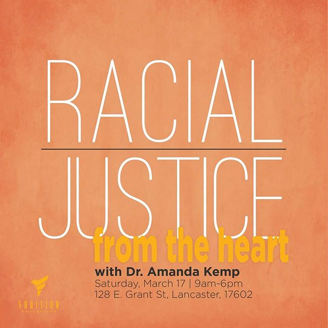 Afraid to Say the Wrong Thing? Fruition Collective and @dramandakemp Are collaborating to bring you Racial Justice From The Heart!! Ready to Reflect on Yourself so that you can stop harming others?  Having a hard getting other people to understand institutional racism?  Want to surround yourself with likeminded community in a culture of kindness?  Join us for this one day racial justice intensive with Dr. Amanda Kemp.  In this session you will  Learn about white fragility and Black fragility  Explore internalized racism, white privilege, and unconscious bias  Learn the secrets to staying juicy and hopeful  This workshop is appropriate for people who understand that racism is both systemic and institutionalized as well as personal, individual choices.  We will have people of color affinity groups to offer space for private sharing as well as work within multi-racial settings.  We do offer group discounts but you must email us directly at saythewrongthing@gmail.com  Who is your teacher?  Dr. Amanda Kemp mentors people who are hungry for racial justice and want to transform the world. She is the author of Say the Wrong Thing: Stories and Strategies for Racial Justice and Authentic Community, Visiting Scholar in Africana Studies at Franklin & Marshall College, and has been involved in movements and arts for justice for over three decades. See www.dramandakemp.com  We have space for a maximum of 30 participants. If you register early not only will you get a $100 discount but we will also pay the service fees that Eventbrite charges.  https://www.eventbrite.com/e/racial-justice-from-the-heart-tickets-43412291332?aff=es2