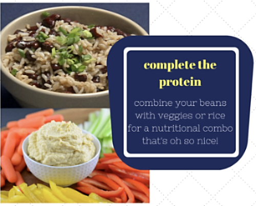 Rice + beans or veggies + hummus are both equations of bean protein bliss