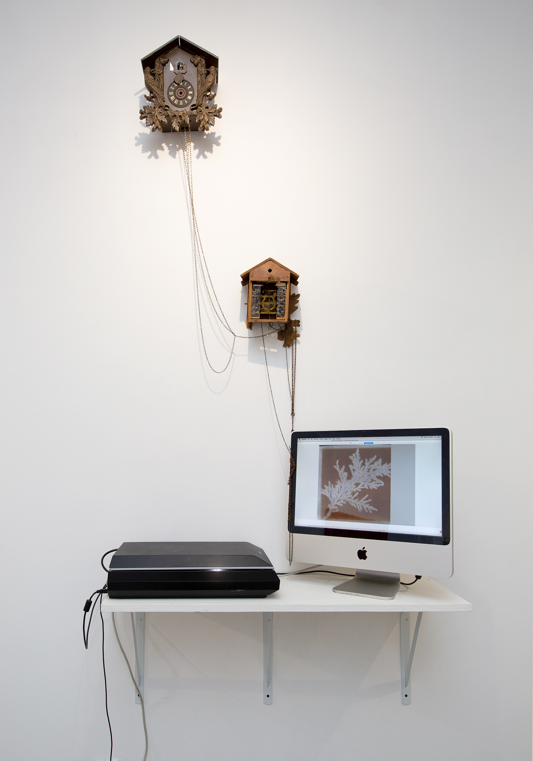 Making the Transitory Impermanent, Making the Fugitive Ephemeral, Making the Interim Provisional,  2018, scanner, desktop computer, calotype, electric chords, cuckoo clocks.