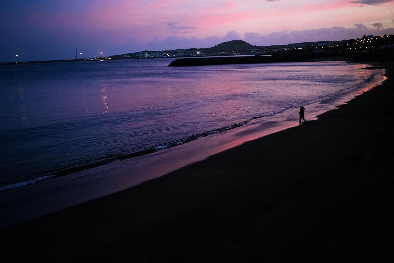 Praia da Vitória beach by night