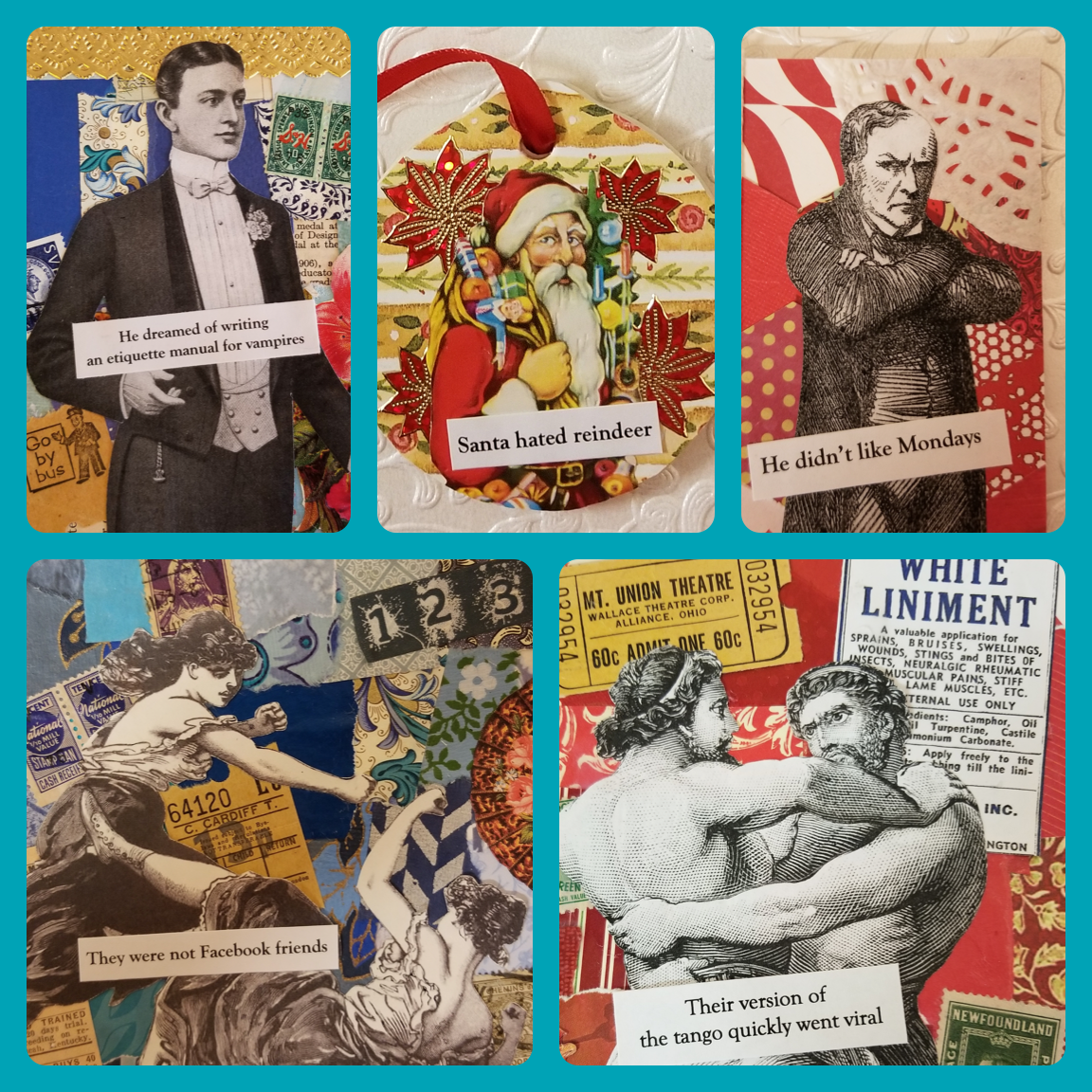 Lin Collette - Lin Collette is a prolific satirical collage artist and member of the Pawtucket Arts Collaborative. Lin will be showing her amazing, silly, and weird outsider art on magnets and canvases for your shopping pleasure.