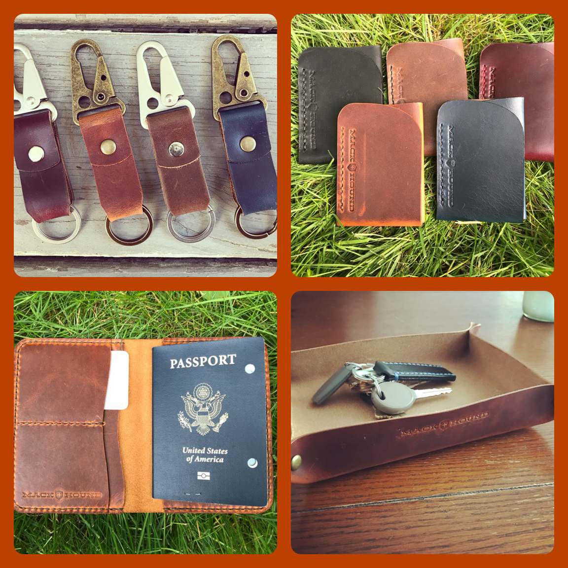 Mack + Hound - Mack + Hound is a small leather and dry goods company hailing from Warwick, RI. Everything they make is cut, stitched, and finished by hand. Their work ranges from wallets, journal covers, watch straps, key clips, home goods and more. The pricing ranges from $12 to $100.
