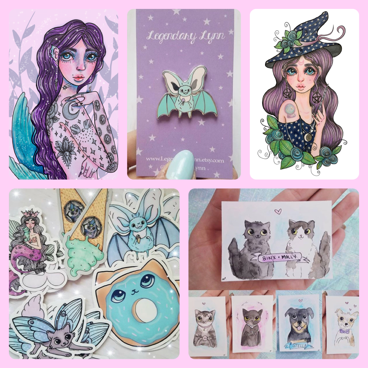 Legendary Lynn - Legendary Lynn is a fantasy illustrator who is inspired by fairytales, romance, and femininity. Lynn's work features women and animals. She uses colored pencils, alcohol markers, and watercolors. Lynn will be selling prints, stickers, bookmarks, enamel pins and more!