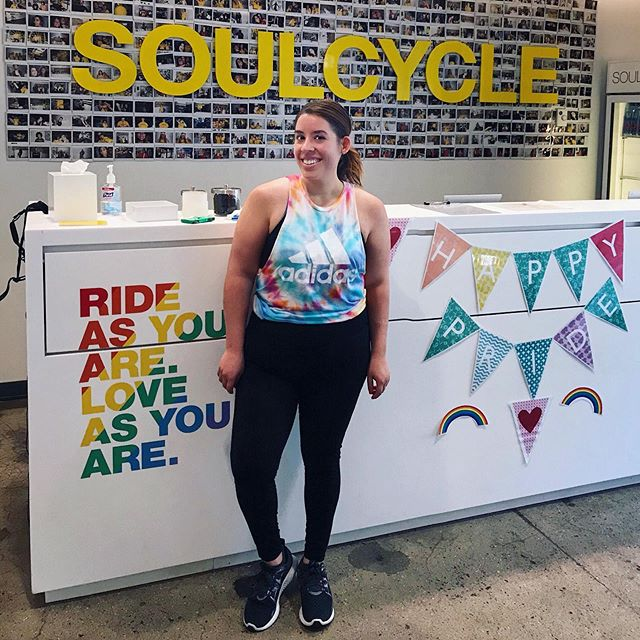 Pride ride at @soulcycle today 🌈 Bikes plus Bikini Kill, what more could you ask for 💁🏽‍♀️
