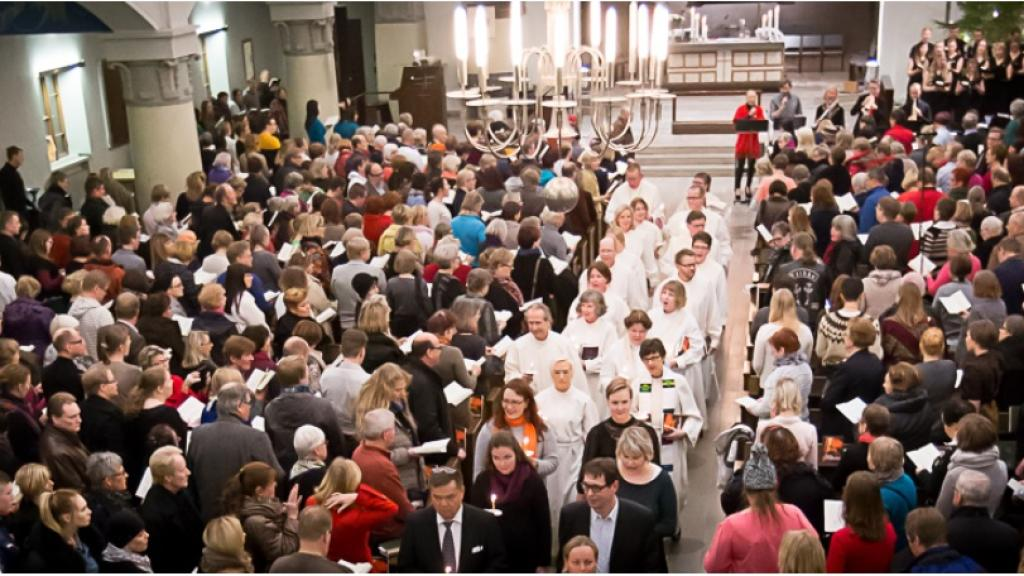St. Thomas Mass celebrated at the Mikael Agricola Church in Helsinki. Source:  TV7