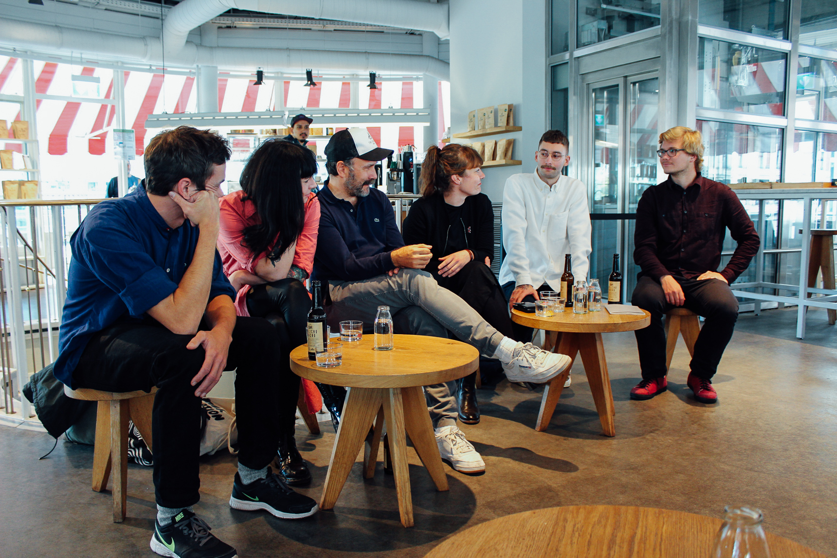 The panel considers an audience question before responding. - From left: Philipp Reichel, Nicole Battefeld, Ralf Rueller, Nora Smahelova, Wojtek Bialczak, and Richard Stiller. Photo: Susie Kealy.