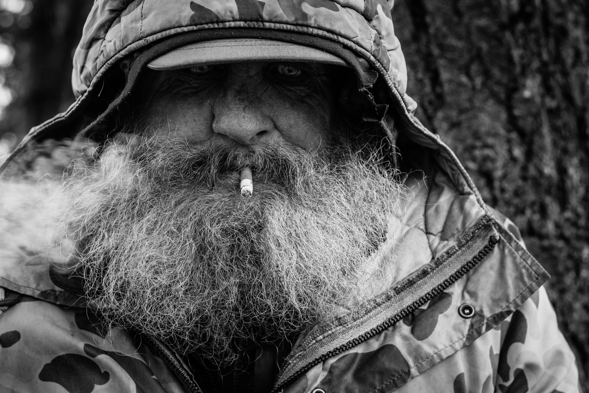 Hope for the homeless - wes fisher photography - portrait project - hooded eyes smoking beard.jpg