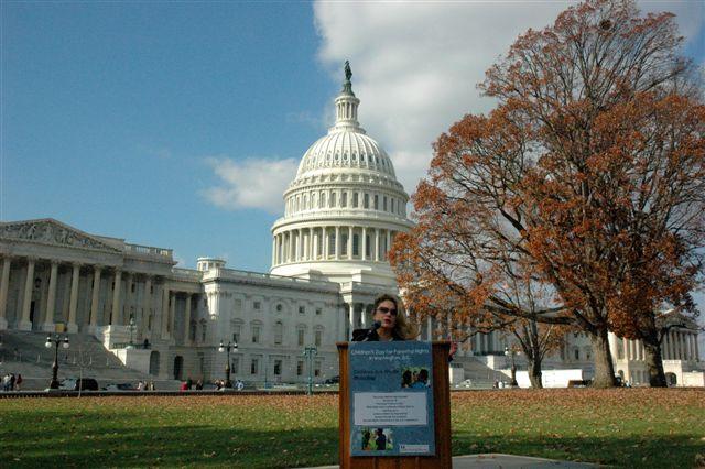 Stop Child Predators President, Stacie Rumenap, speaking at U.S. Capitol rally