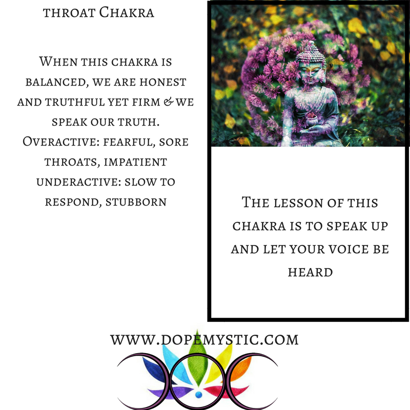You can think of the throat chakra as a connector between the head and the heart.Often you will begin to see difficulties develop in the head, shoulders, neck, throat and upper chest when there is a blockage or imbalance in the throat chakra. These can relate to anything in the ears, the jaw, the neck, the throat, the thyroid, the mouth and the teeth, and some issues in the neurological system (especially in the form of headaches). Coughs, hoarseness or tickles in the throat are common physical symptoms of throat chakra issues. Autoimmune conditions can also be triggered by a blockage or imbalance here. Sometimes you can see or sense the tension from the blockage in the shoulders and this may even be seen in the arms and hands as well.
