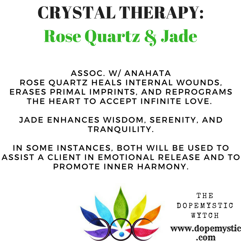 Reiki specifically restores the emotional well-being of those who are suffering from a heavy emotional baggage. However, some clients have more intense reactions to a session and find that an overwhelming amount of pain surfaces. In these instances, the combination of jade and rose quartz becomes a powerful tool for healing, promoting balance as the client sifts through their suppressed emotions. Rose quartz healing properties are centered in spiritual matters of the heart, and its energy is that of fire; it will have a positive effect on concepts, ideas and sex...the very roots of what's most often impacted by trauma.