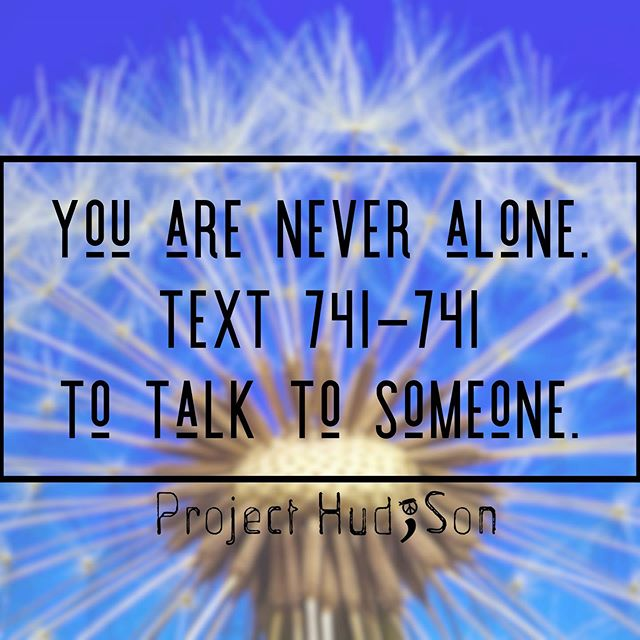 Help and support is available 24/7 by texting 741-741. #stopsuicide #flyhighhudson #projecthudson