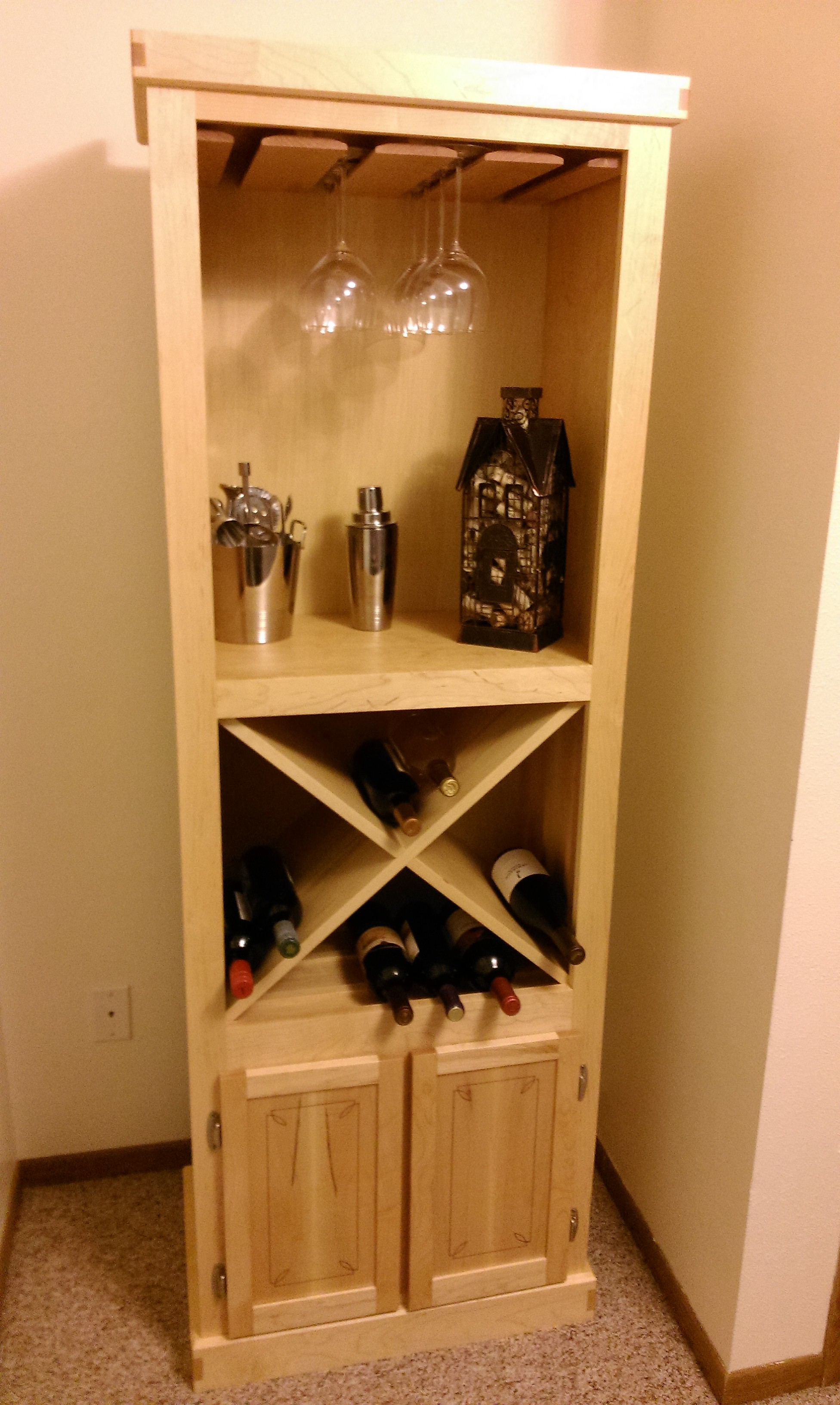 Wine Cabinet - Maple with Purple Heart Inlay