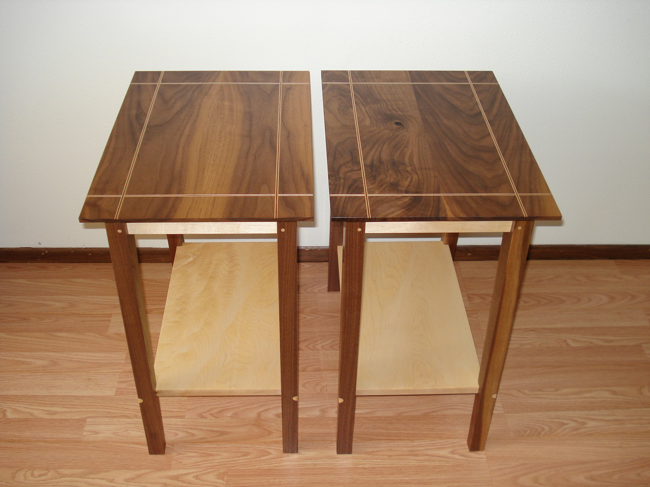 Paired Bedside Tables - Walnut and Maple