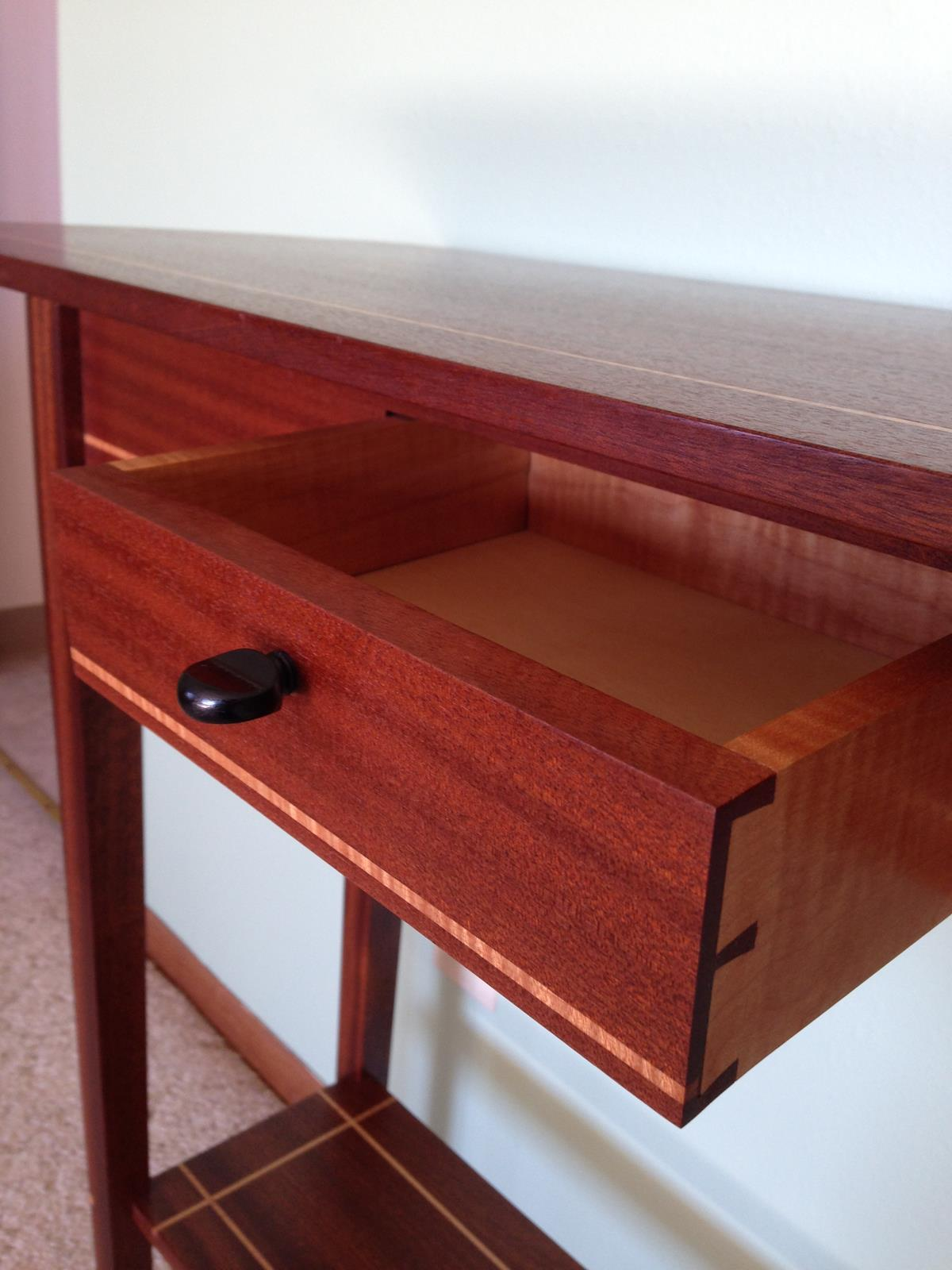 Sapele Table and Drawer with Violin Peg Drawer Pull - Hand-cut Dovetails