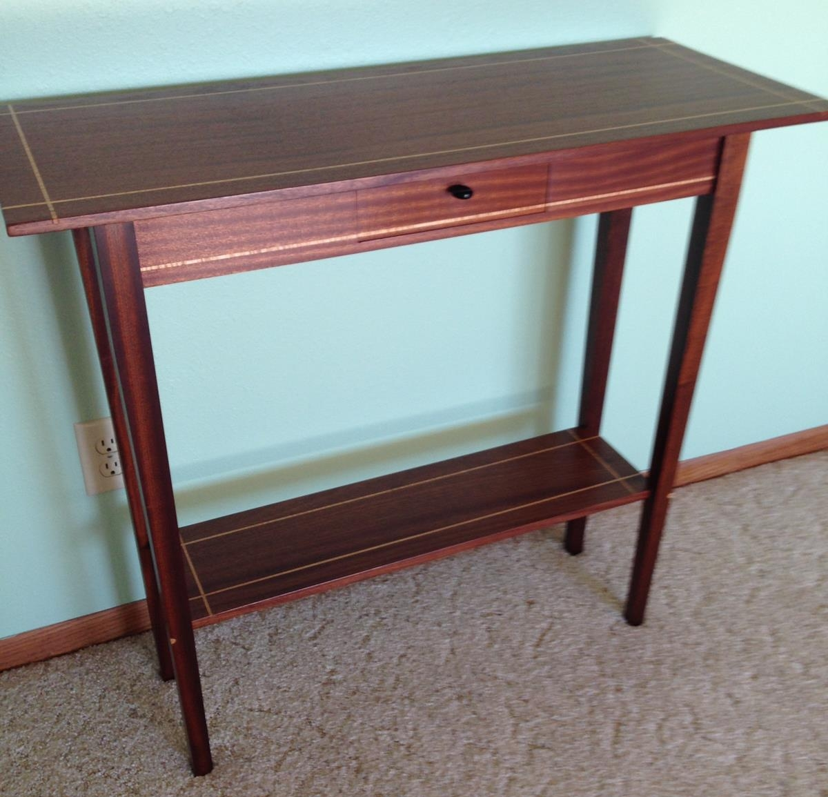 Side Table - Sapele with Figured Maple Inlay