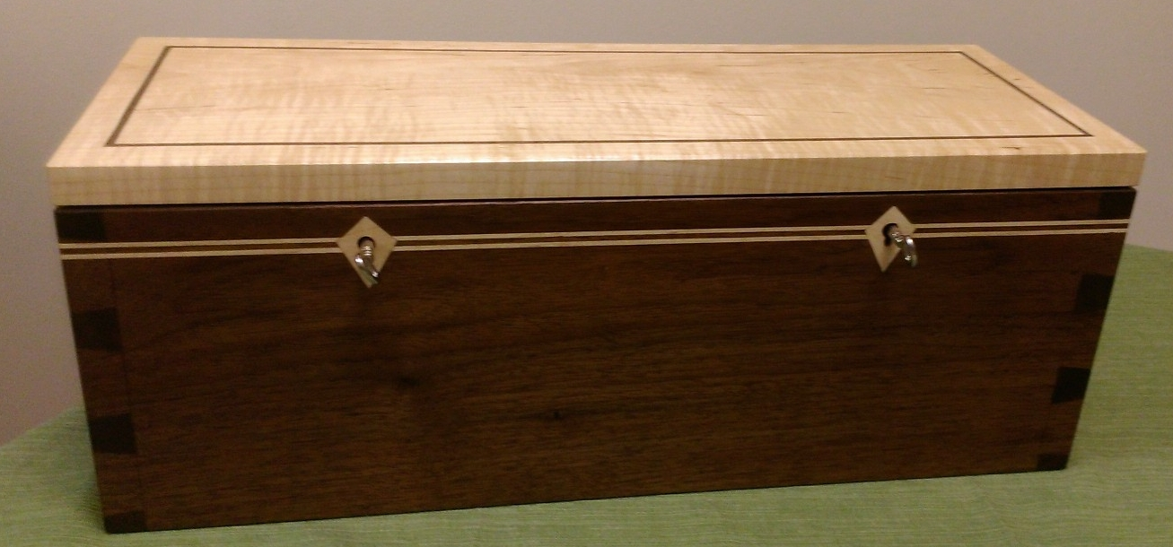 Dovetailed Wine Bottle Unity Box - Walnut and Maple with Maple Inlay