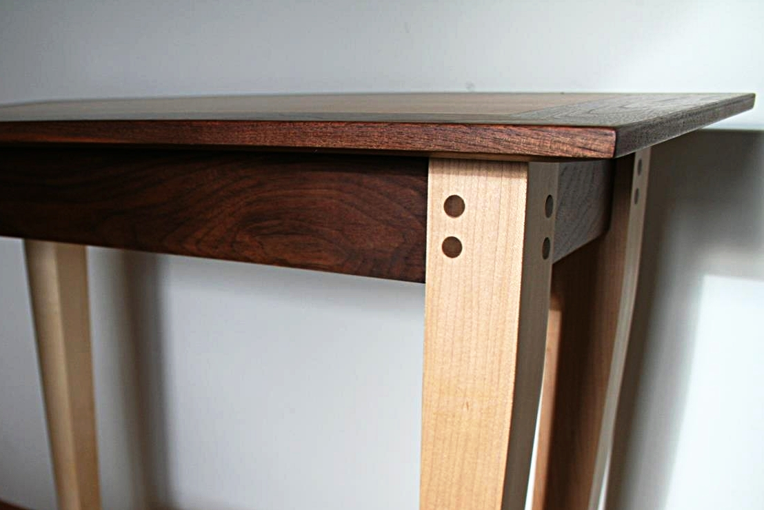 Walnut and Figured Maple End Table - Pinned Mortise and Tenon Joints