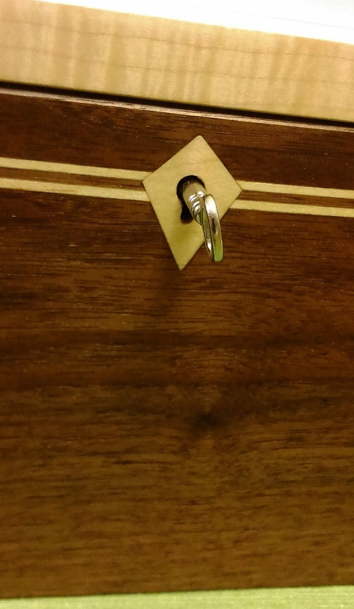 Maple Escutcheon Inlayed over Key Hole - Walnut and Maple Box