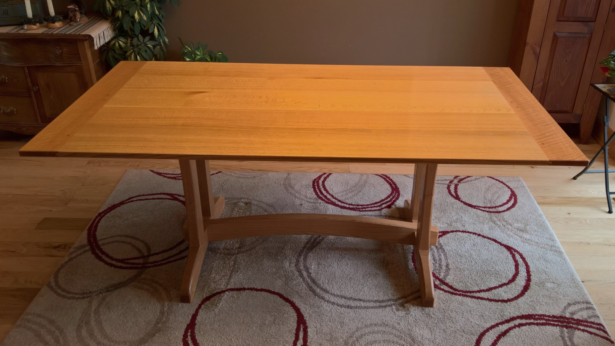 Red Oak Dining Table - Breadboard ends with pinned mortice and tenon joinery throughout.