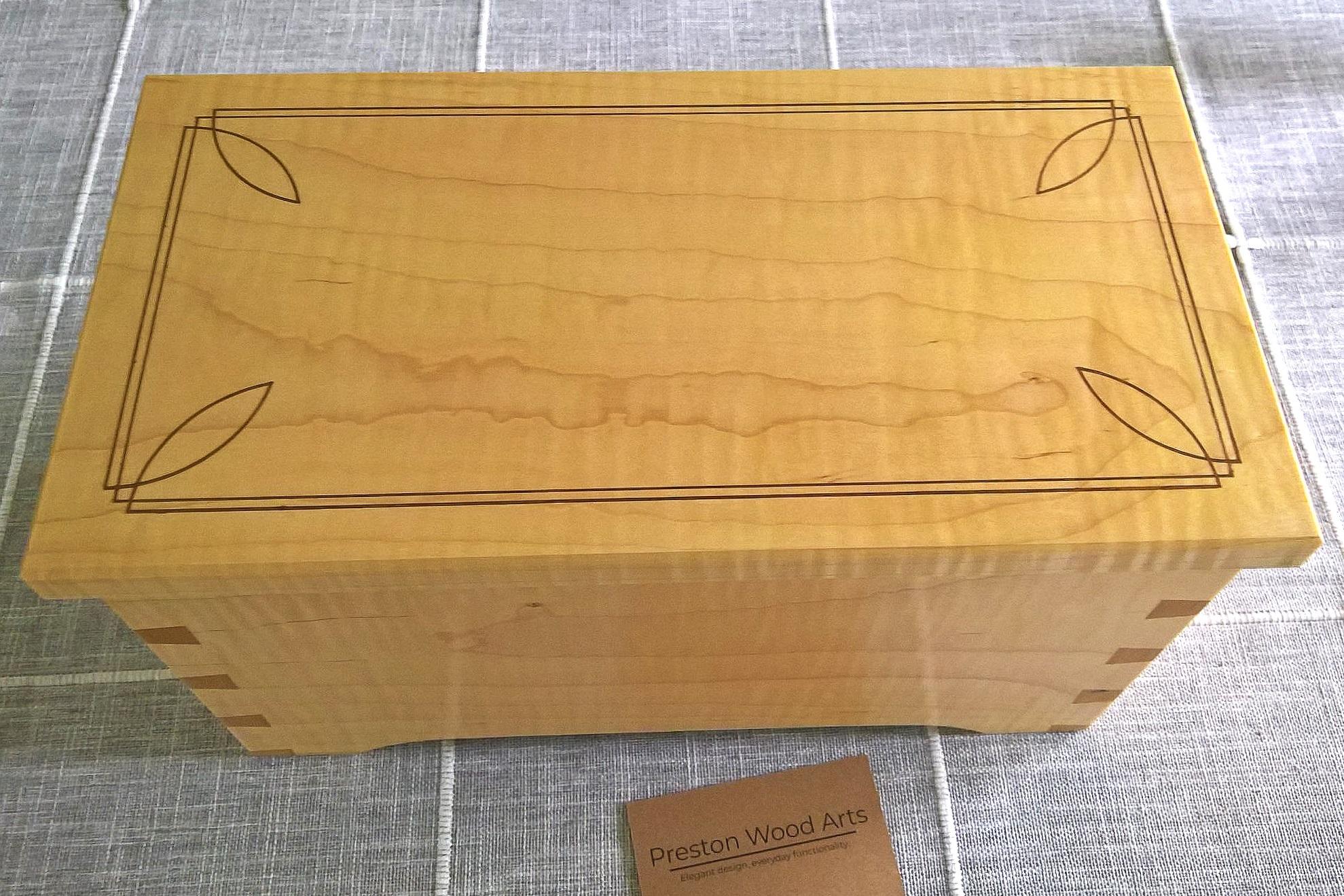 Dovetailed Keepsake Box - Figured Maple with Walnut Inlay
