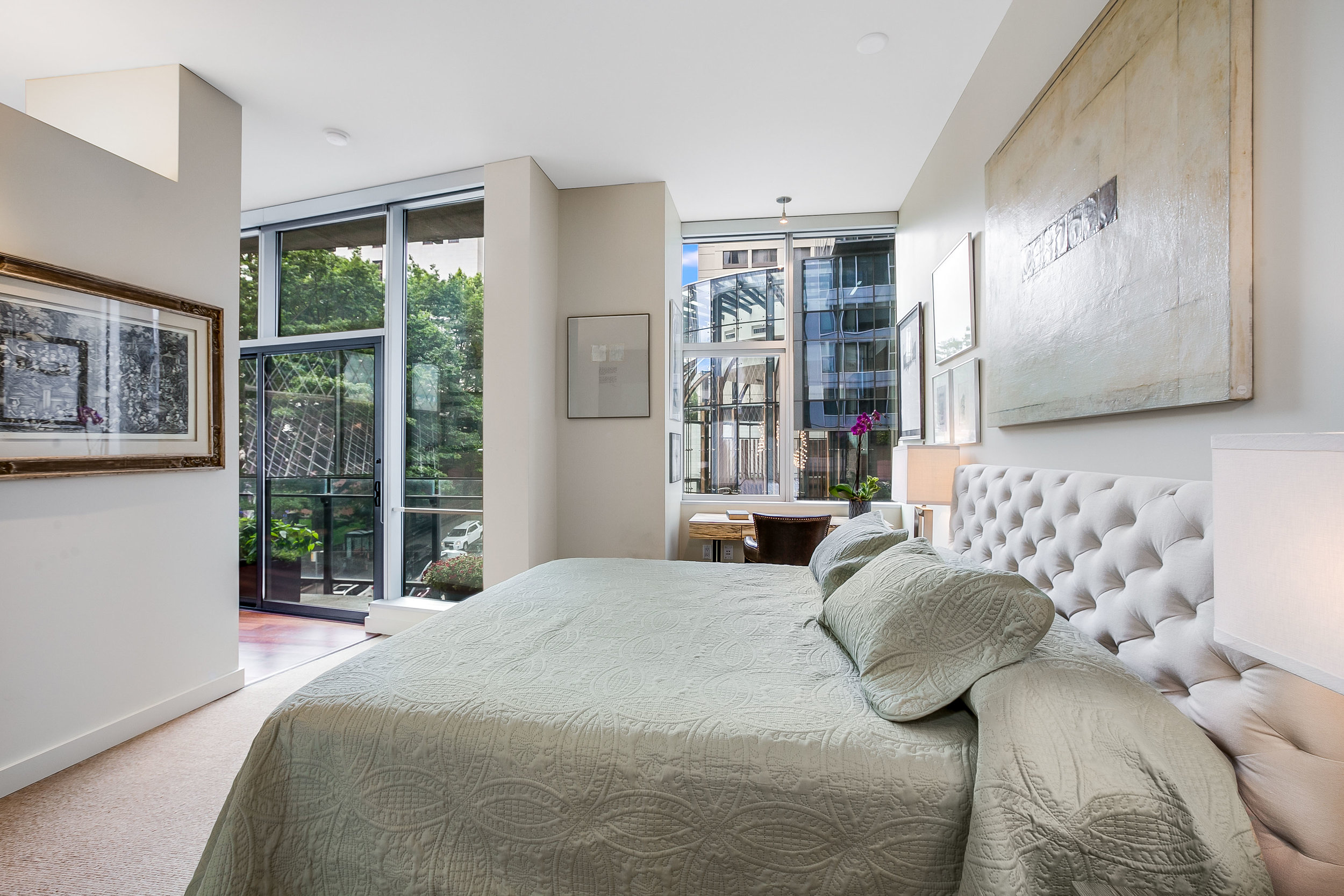 Calm Koolhaas Evenings - As the evening winds down, settle into the exquisite master suite, large enough for an office space with a walk-in closet. The entire space is curated for relaxation and rejuvination.