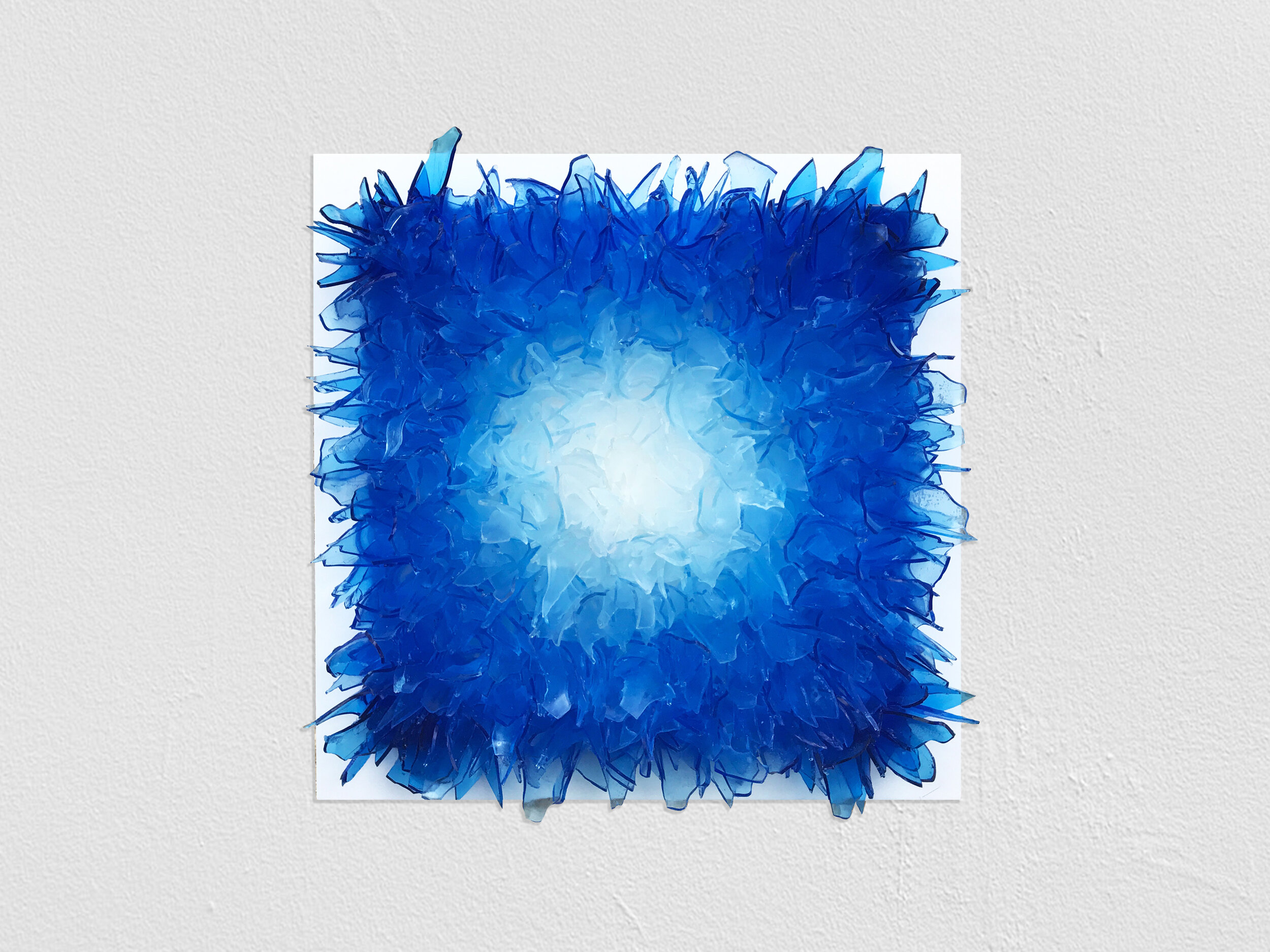 shattered in blue - 800 sculpted & hand cast rubber shards of glass