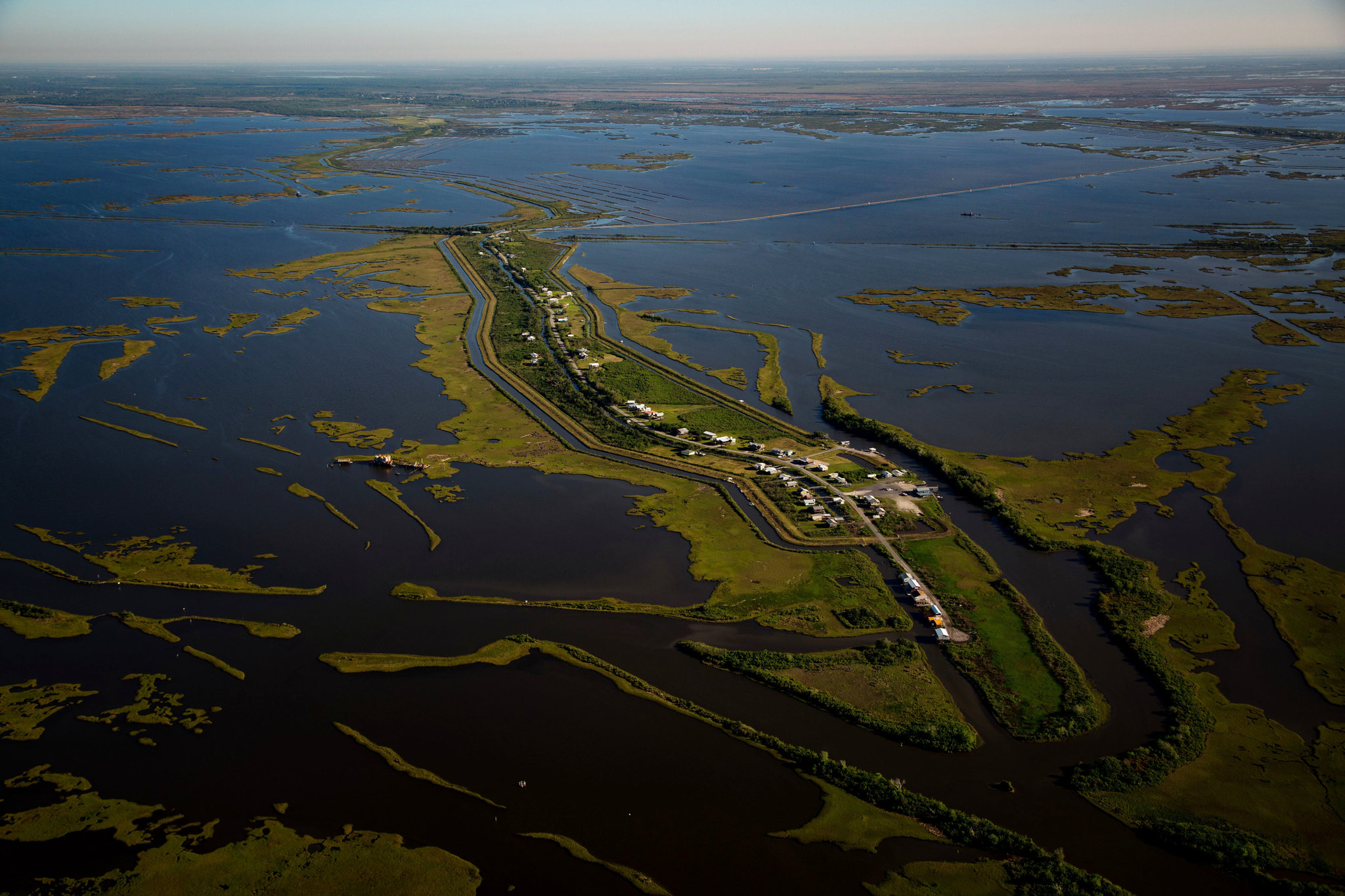 Aerial view of Isle de Jean Charles. Photo by Josh Haner for the New York Times