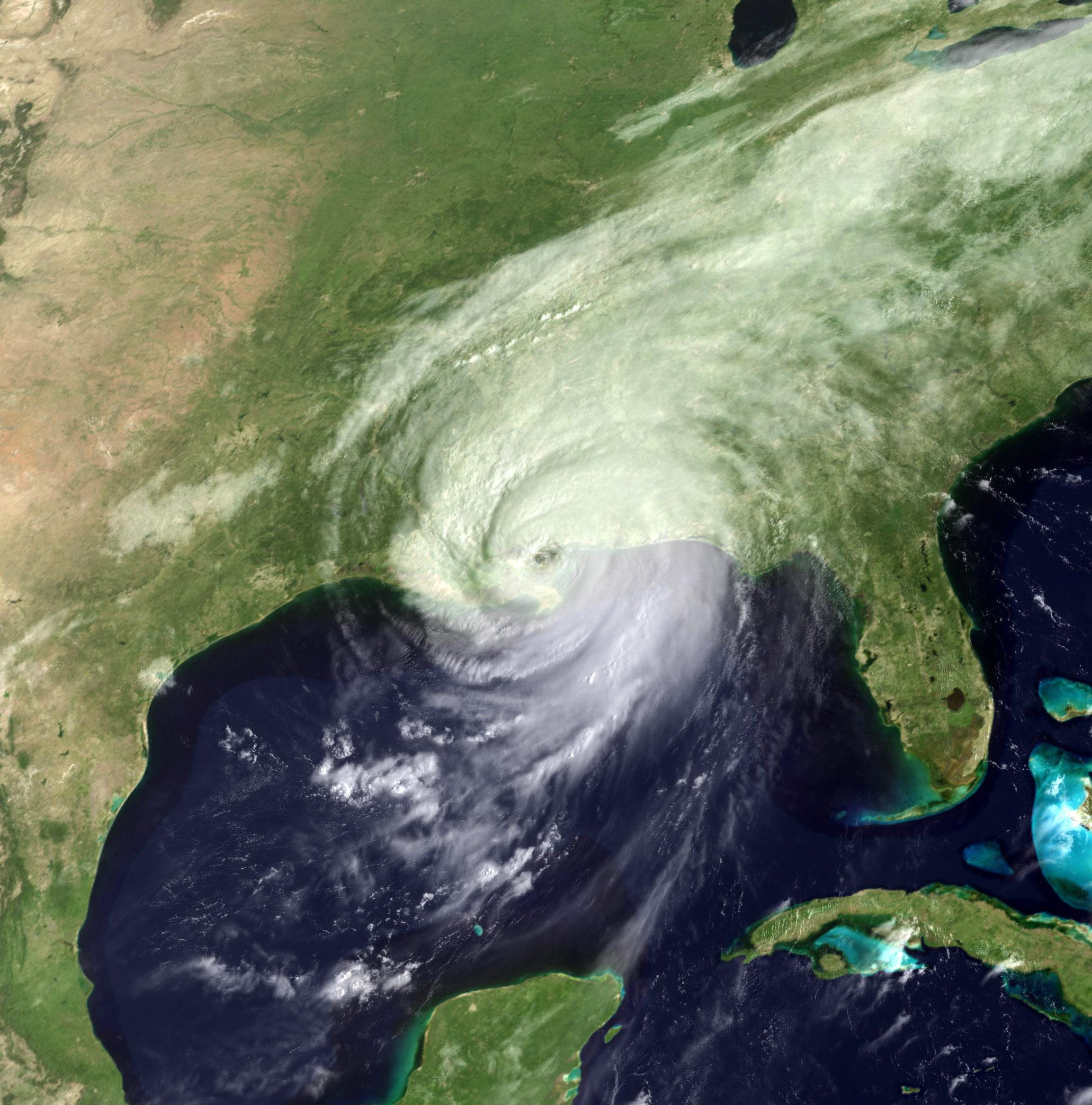 Satellite image of hurricane Katrina approaching Louisiana.