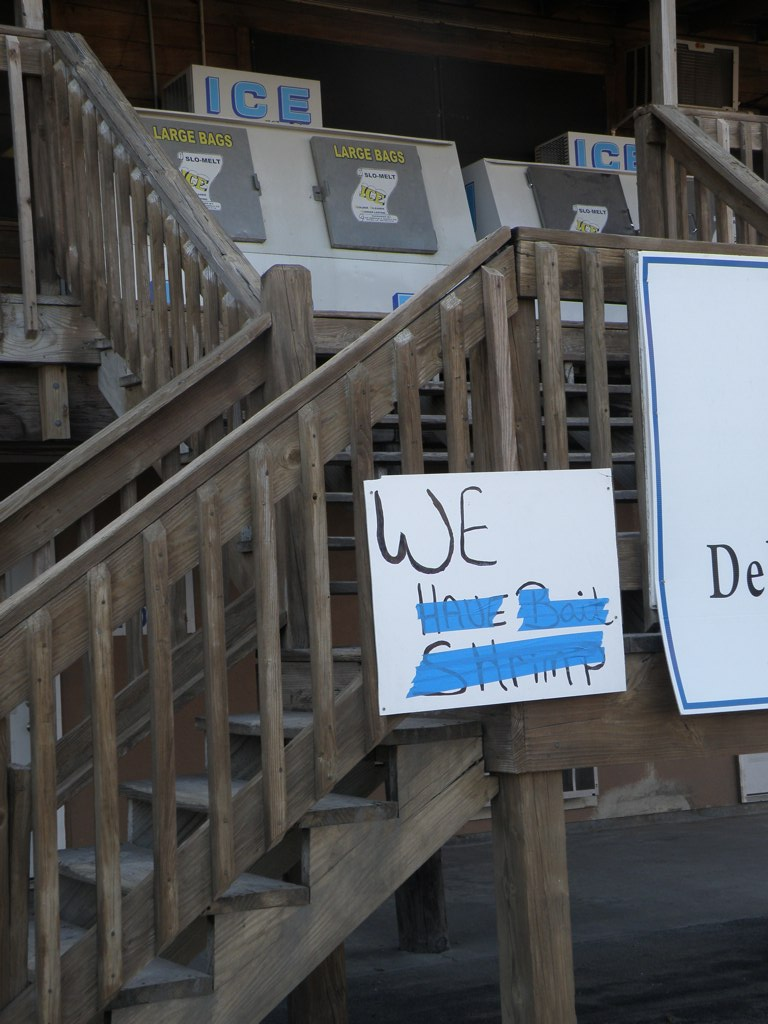 A store in Grand Isle crosses out shrimp on their sign after the BP Oil Spill.