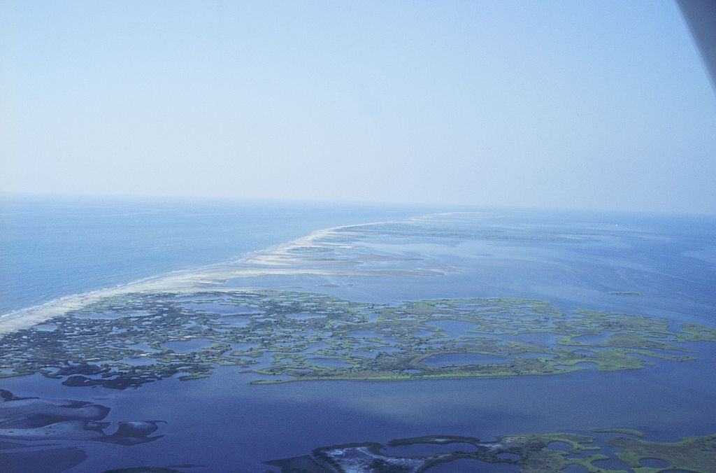 Aerial view of barrier islands off the coast of Louisiana