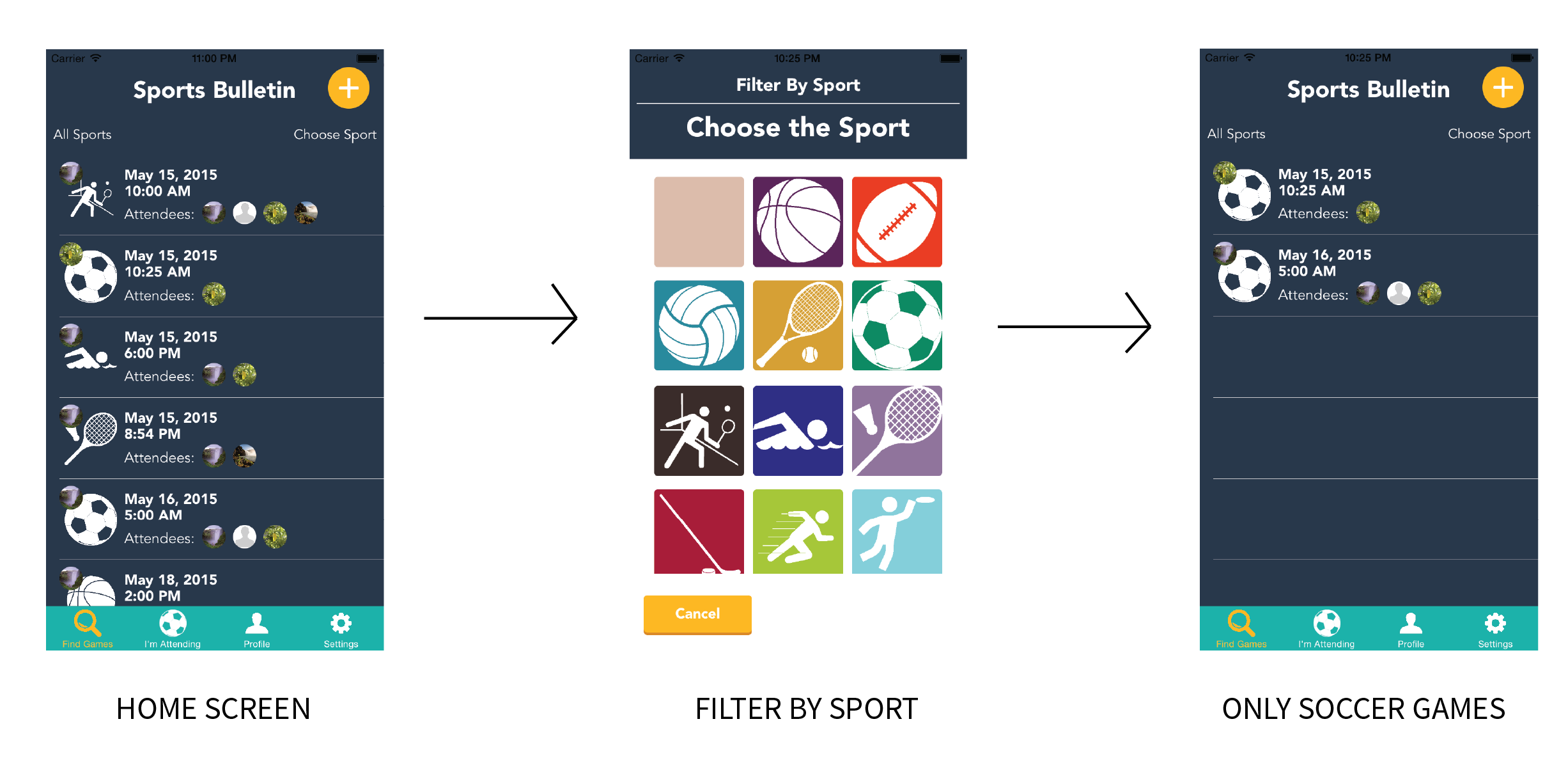 Filtering by Sport