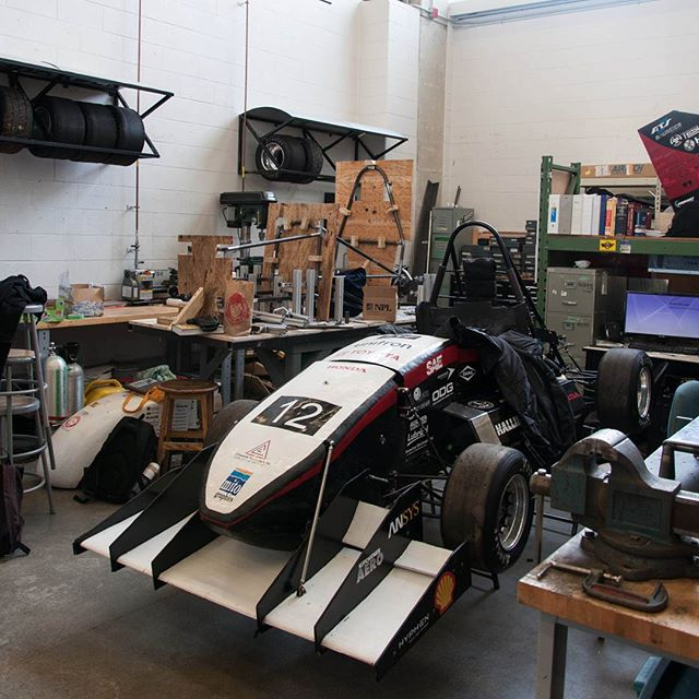 The 2016 car has been coming apart over the last few weeks and is no longer in the state you see here, so we thought we'd post it as we continue to #pushharder on the 2017 car! #uwfm2017 #uwaterlooformula