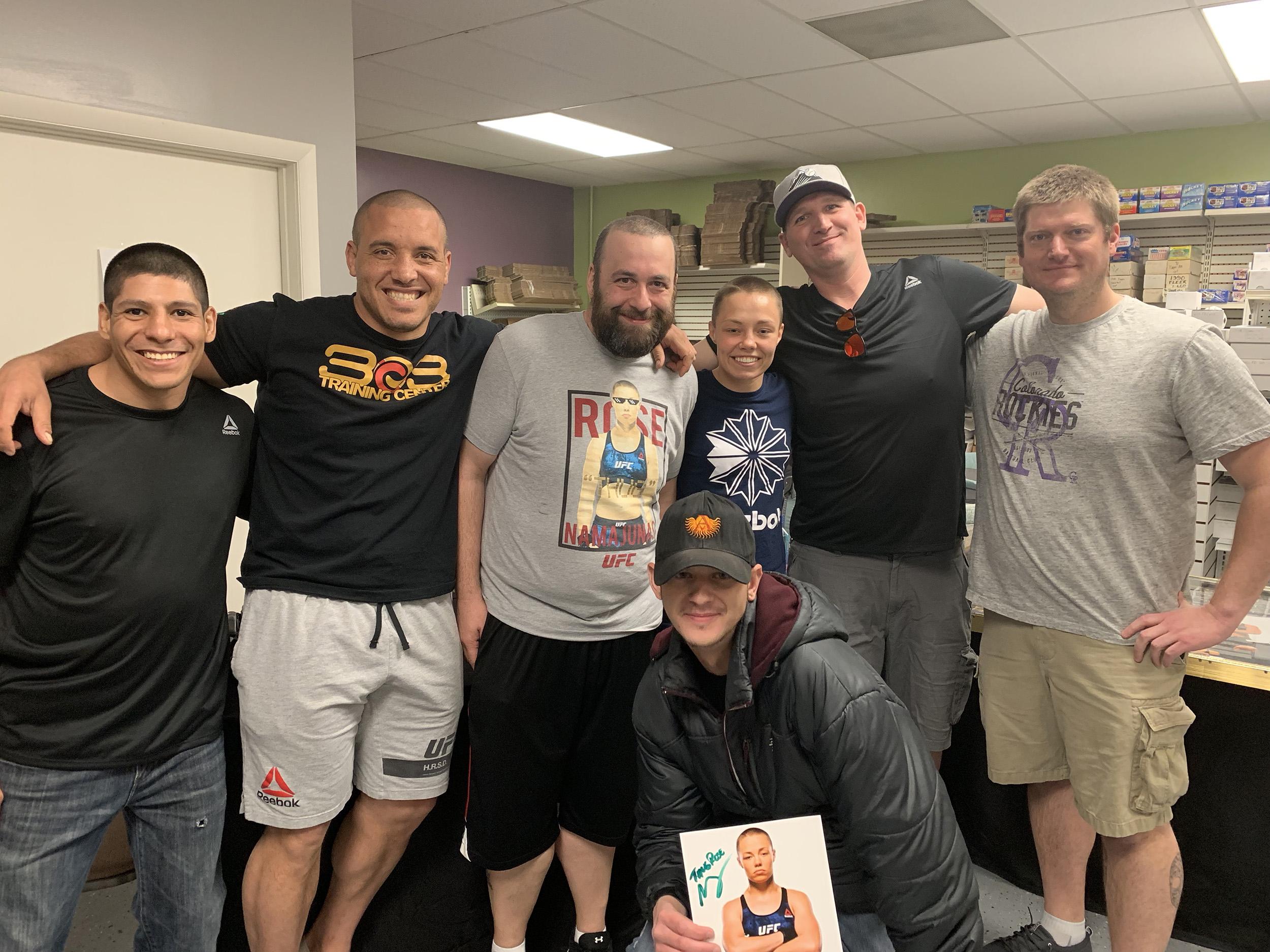 From left: Brian Lopez, Pat Barry, Jon Scanlon, Rose Namajunas, Jeremy Brady, Shawn Johnson, Adam Peterson (Front)