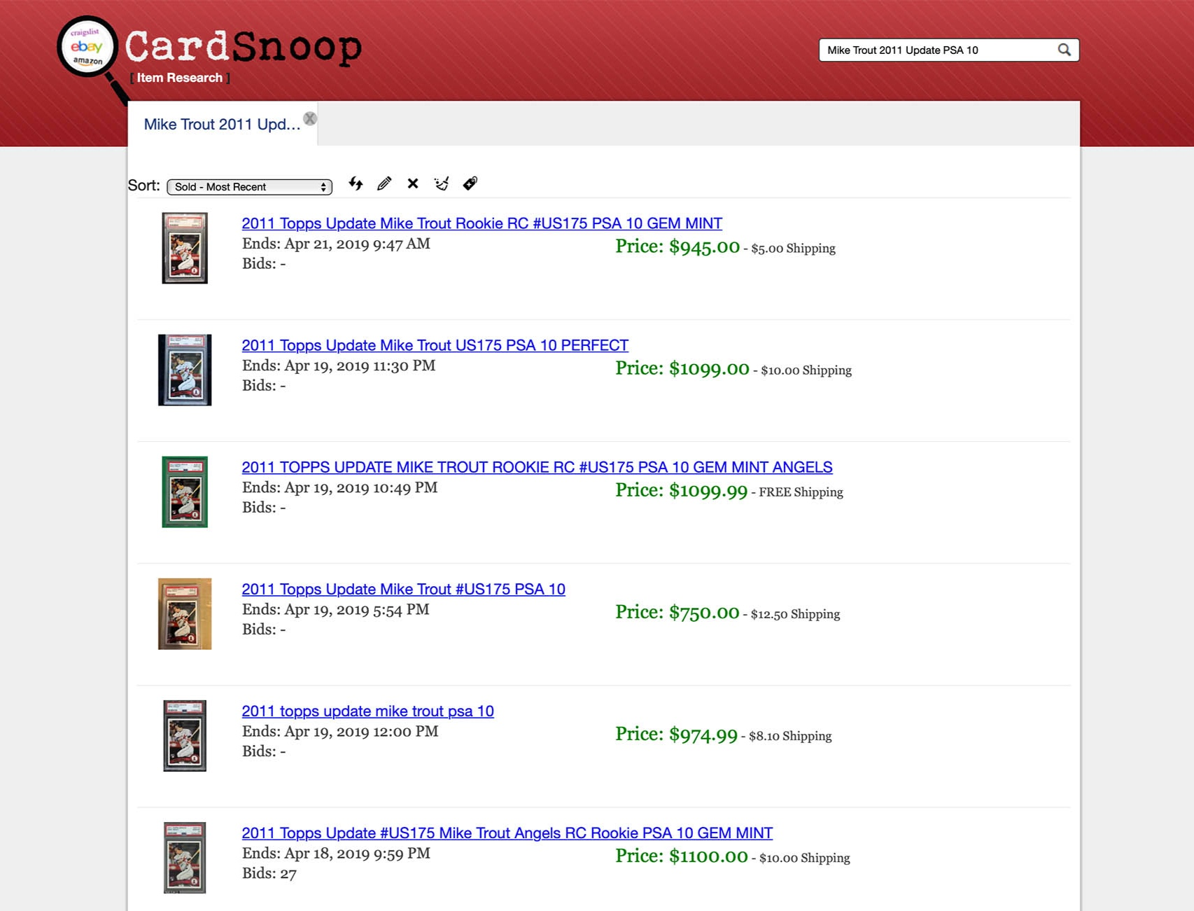 "3rd Party Search apps like CardSnoop can help easily find ""Sold Comps"" on BIN listings where Best Offer is used."