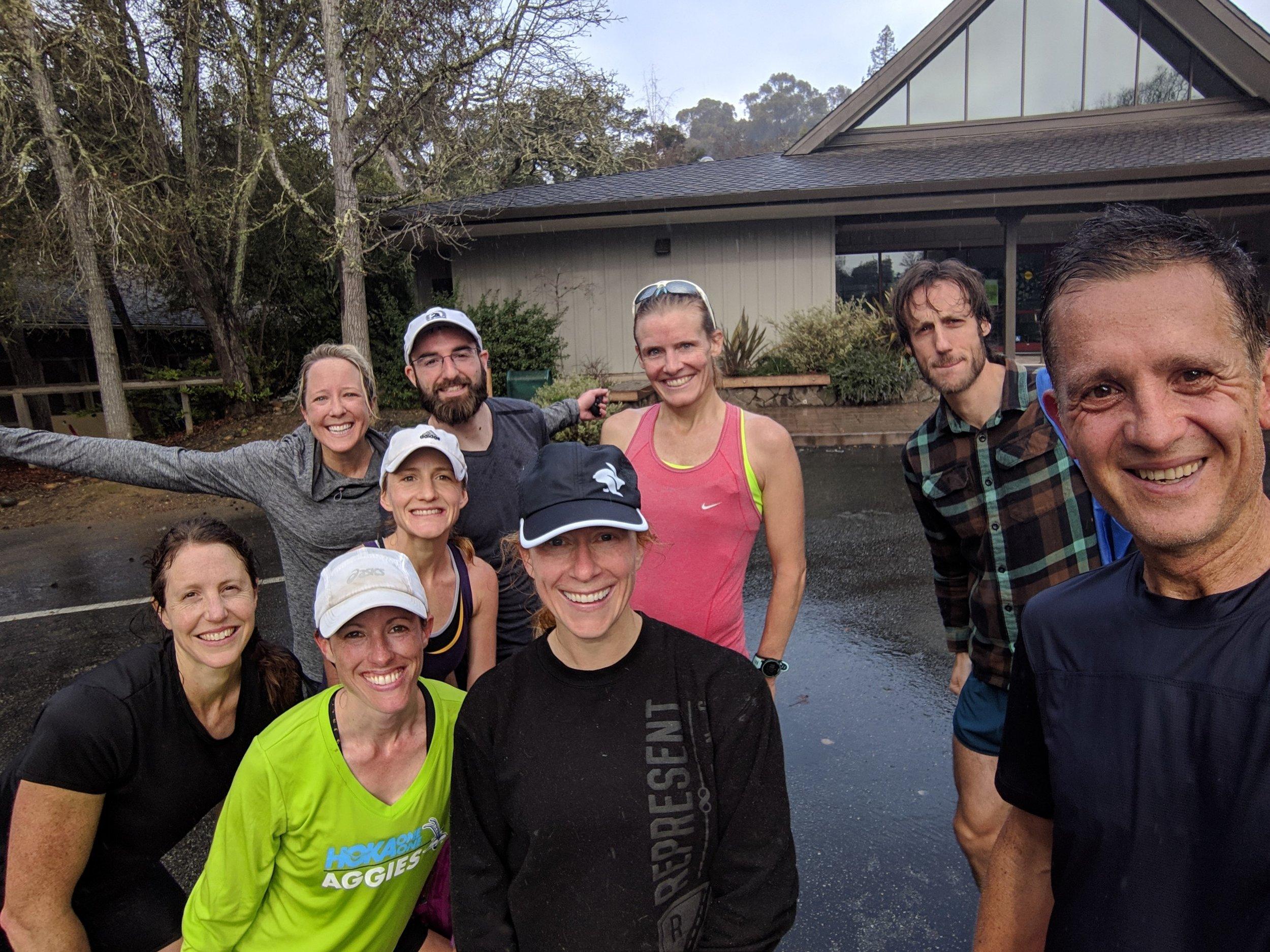 Our long run crew: Teresa, Liza, me, Tom, Emily, Max, Jenna & Teresa's hubby