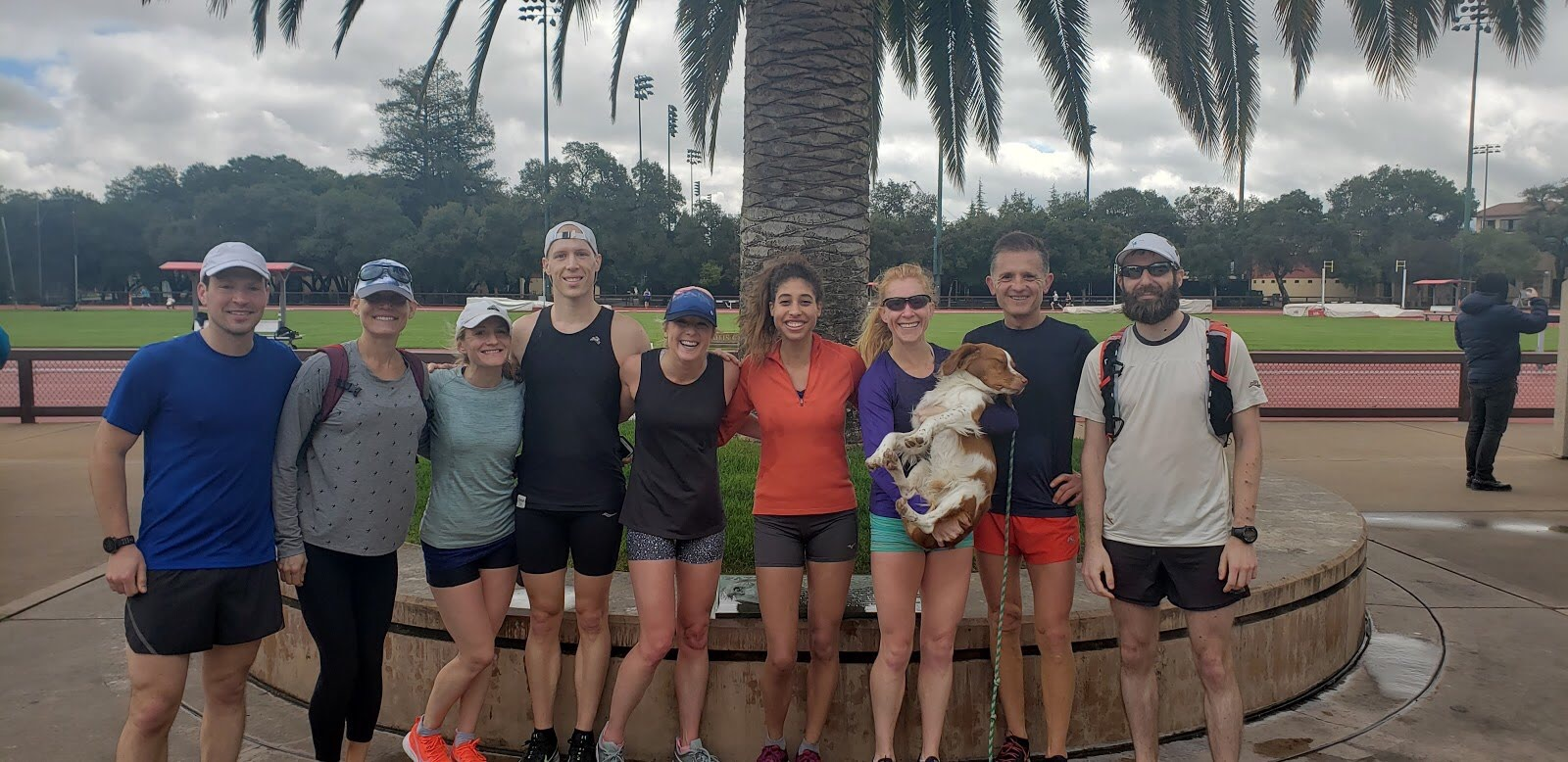 The whole crew at Stanford, where we finished! With a guest appearance from Endy!