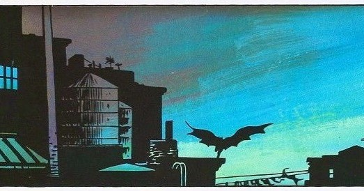 BMYR1/1986 call and response...that image of Batman on the roof from Year 100, split cape and running, is an homage to this panel from Miller/Mazzuchelli Year One.