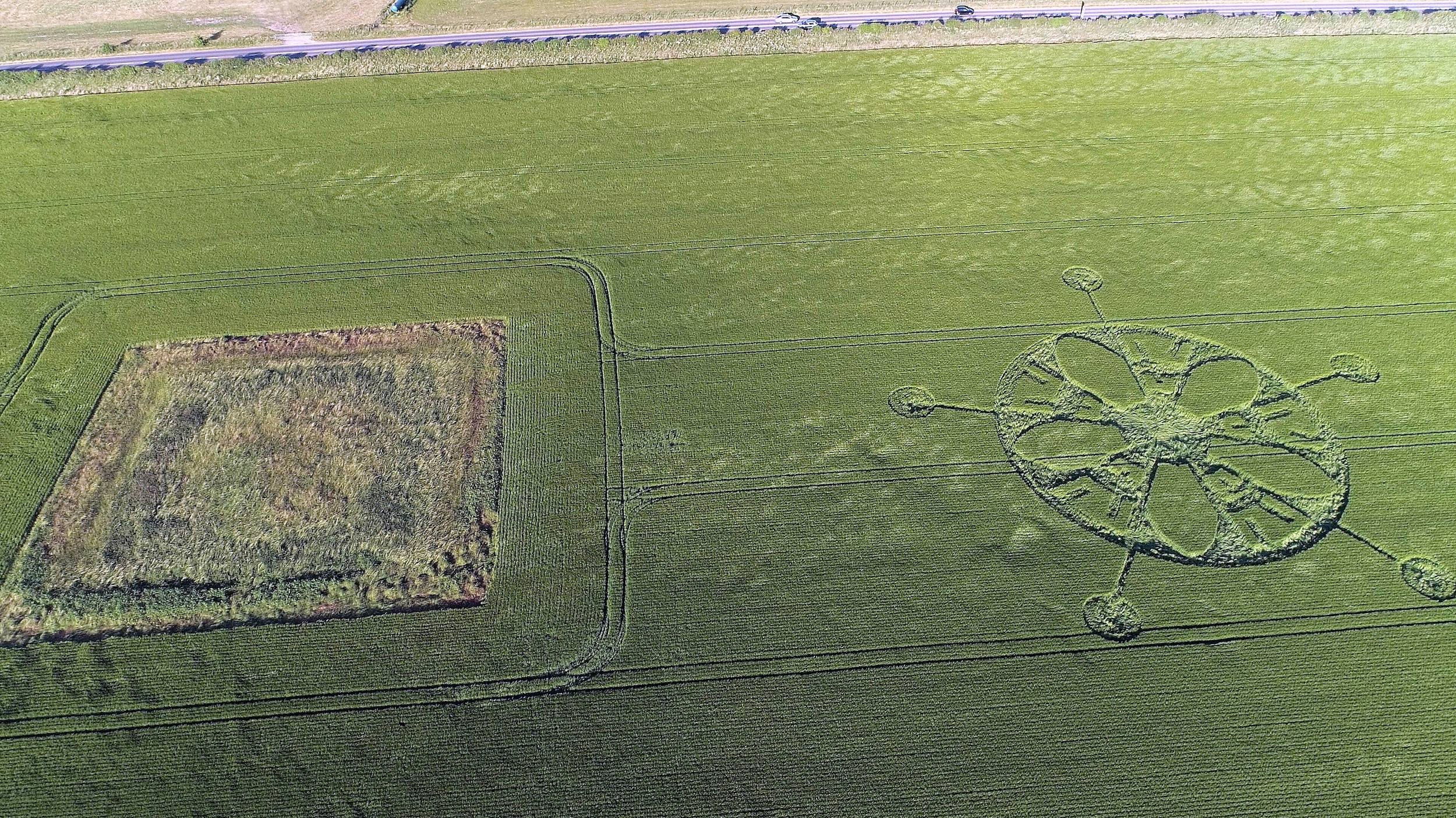 Crop circle near the road to Stonehenge. Image courtesy of Paul Deeman