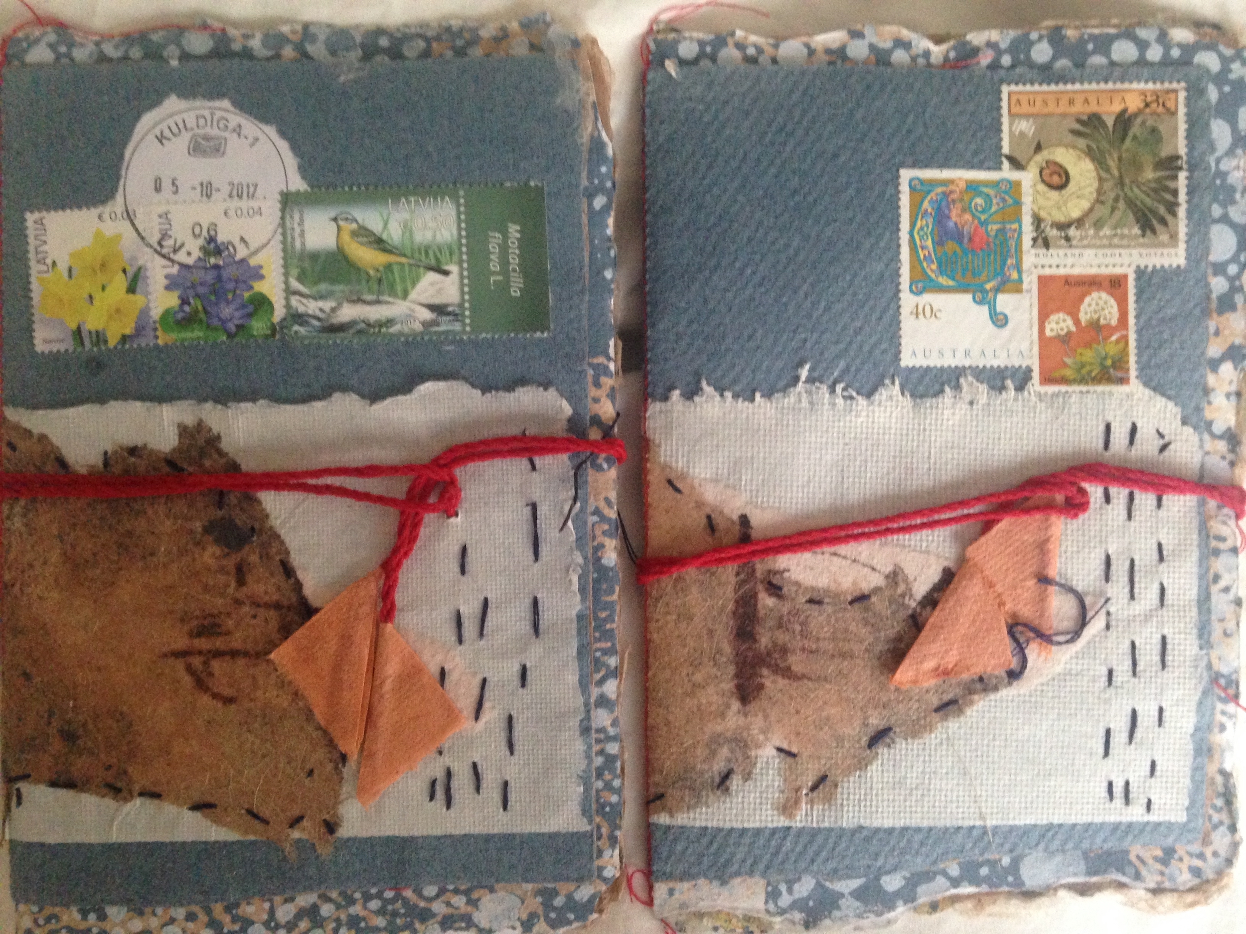 Between Two Continents  - artist books with Latvian and Australian stamps by Ilze Dilane and Heather Matthew 2018.