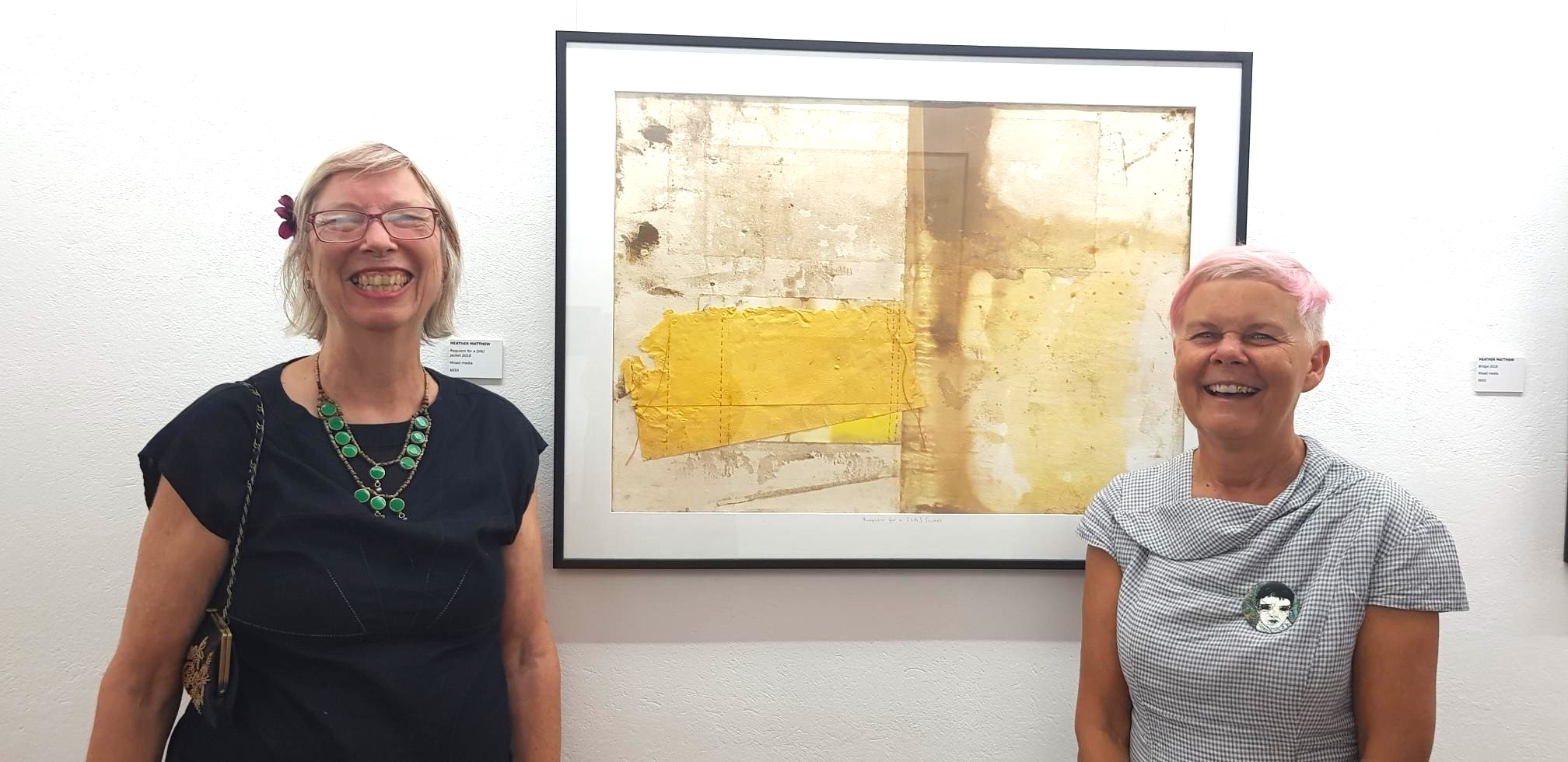 At the opening of my exhibition  Deluge  with Julie Barratt who gave the opening speech. Artwork: Requiem for a [life] Jacket.