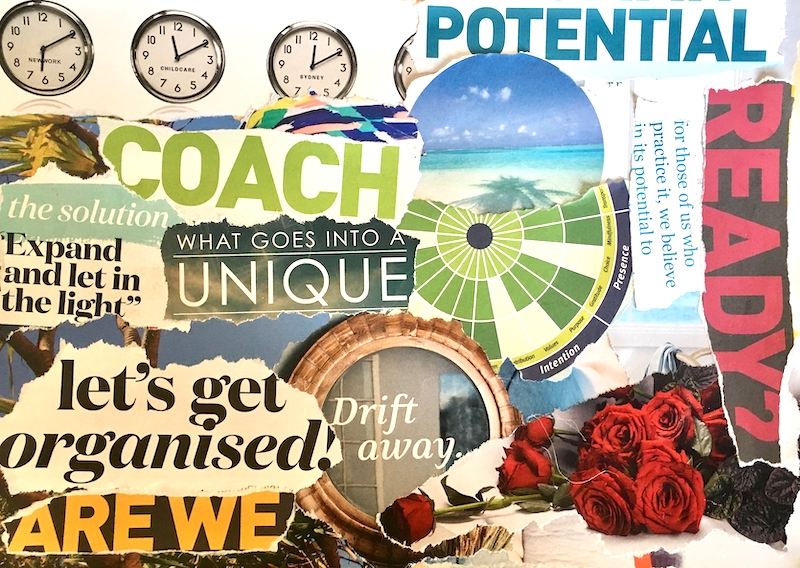 This is the complete vision board I created -not my preoccupation with the clocks. Time was ticking!!
