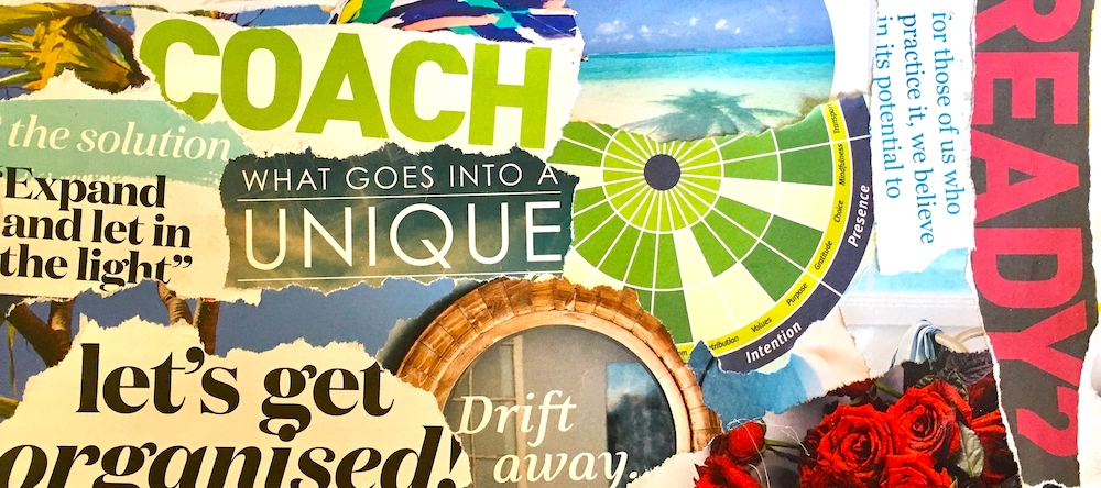 Vision Board (detail) - you can see I was preoccupied yesterday learning about how to be a good coach