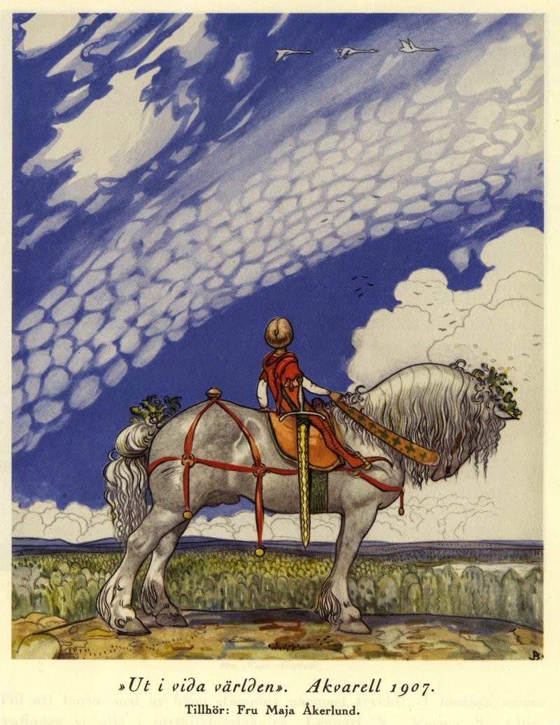 Hello, horizon! (John Bauer) Not sure if the Comps are the geese flying into the distance, the horse I'm riding, or the body-sized sword slung to my side!