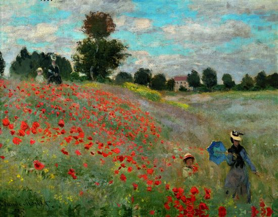 "Claude Monet c.1873 ""Poppy Field near Argenteuill"" For some reason I feel impelled to yell ""Watch out for bees!"""